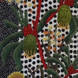 Denise Griffiths 'Dotty Roo' Quilt showing Kangaroo Paw and starflower detail.