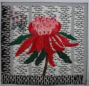 Denise Griffiths Large Red Waratah Art Quilt