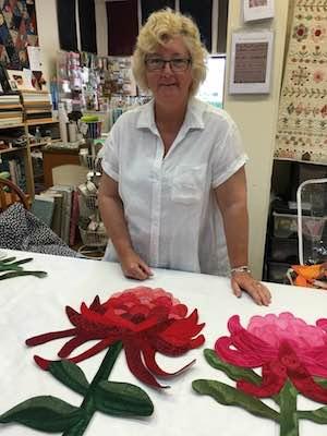 Denise Griffiths Textile Artist and teacher with Waratahs.