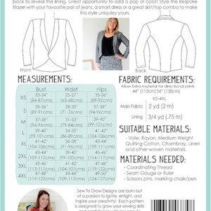 The Sew to Grow Bespoke Blazer Pattern Back