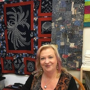 Jennifer Corkish Quilt Teacher in class with her Japanese inspired work