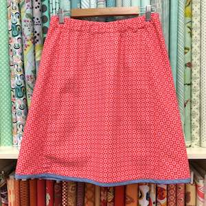Bias Panel elastic waist skirt with contrast hem binding by Loo Taylor