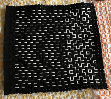 Another example of Hitomezashi Stitching. Learn this and many other patterns with Sharon Thomson.