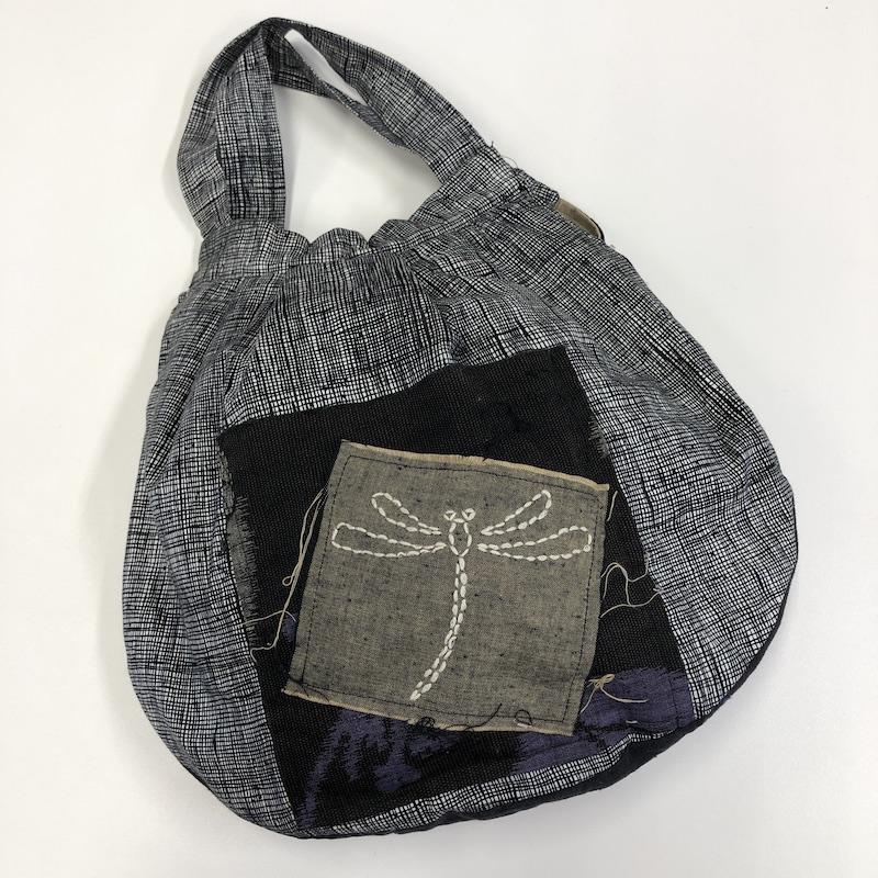 The back of carol's raindrop bag featuring some Sashiko stitching